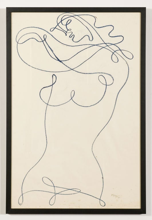 Framed drawing on paper by artist and Hollywood director Jean Negulesco. Famous for the films he directed,