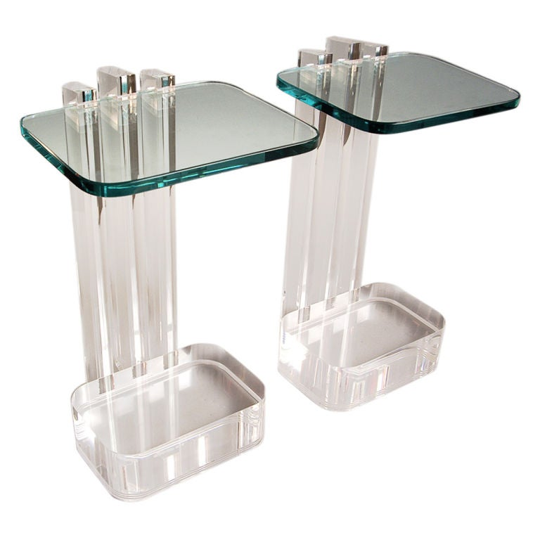 Les Prismatiques Clear Lucite And Glass Side Tables At 1stdibs