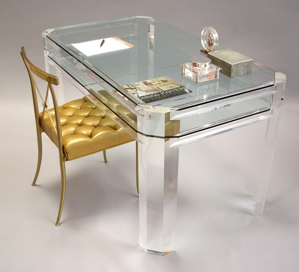 1970s all clear thick lucite and glass desk at 1stdibs for Perspex desk
