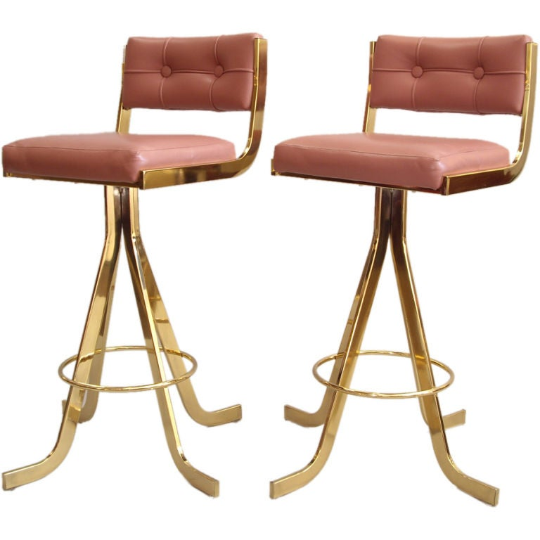 Pair Of 1970s Polished Brass Barstools At 1stdibs