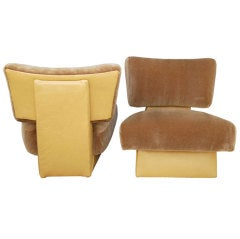 Paul Laszlo Mohair and Leather Lounge Chairs