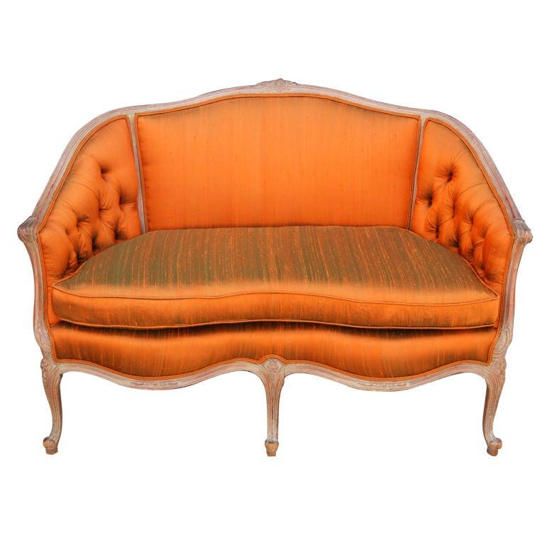 Vivacious French Settee In Burnt Orange Silk At 1stdibs