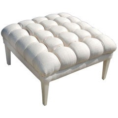 "William ""Billy"" Haines Biscuit Tufted Pouf in Silk"