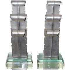 Rare Hyman Bloom Glass and Aluminum Andirons