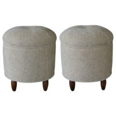 A Stylish Pair of French Art Deco Upholstered Circular Stools