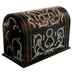 A Handsome Anglo-Indian Ebony Domed Letter Box w/Bone Inlay