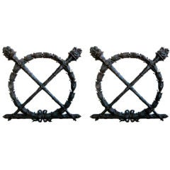 A Heraldic Pair of  French Louis XVI Style Bronze Laurel Wreaths