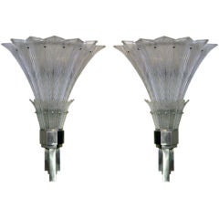 A Large-Scaled Pair of French Art Deco Wall Sconces; by Sabino