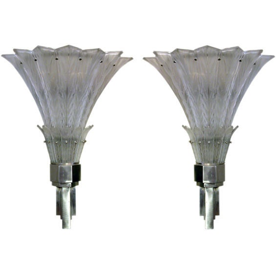 Large Art Deco Wall Sconces : A Large-Scaled Pair of French Art Deco Wall Sconces; by Sabino at 1stdibs