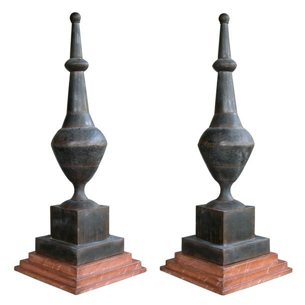 A large scaled pair of french baluster form zinc roof