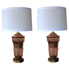A Pair of Bohemian Art Deco Aubergine Glass Decagonal Lamps