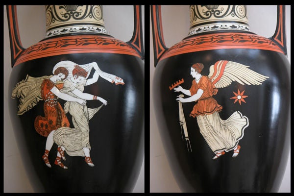 Rare Pair of English Porcelain Urns with Classical Figures; S.A&Co. In Excellent Condition For Sale In San Francisco, CA