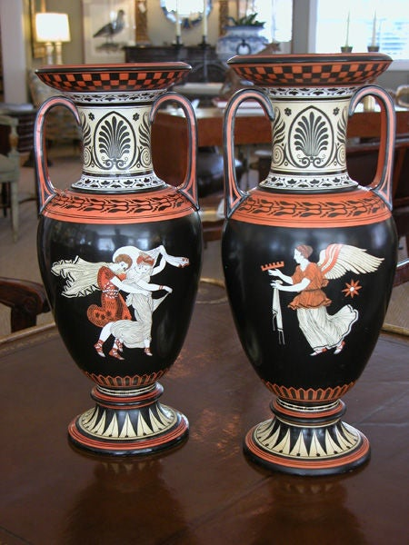 Rare Pair of English Porcelain Urns with Classical Figures; S.A&Co. For Sale 2