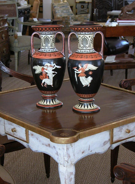 Rare Pair of English Porcelain Urns with Classical Figures; S.A&Co. For Sale 5