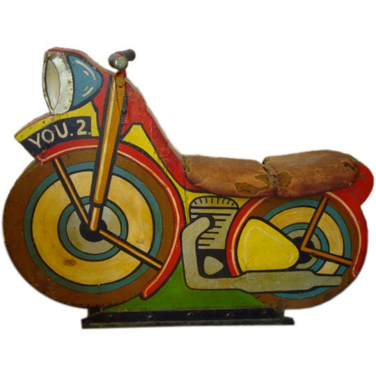 Early 20thc original painted motor cycle from a merry go for Camel motors on park and ajo