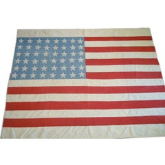 EARLY 20THC FOLKY HAND SEWN FLAG  QUILT