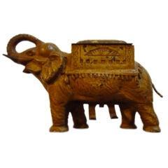 19thc Original Mustard Painted Iron Elephant Cigarette Dispenser