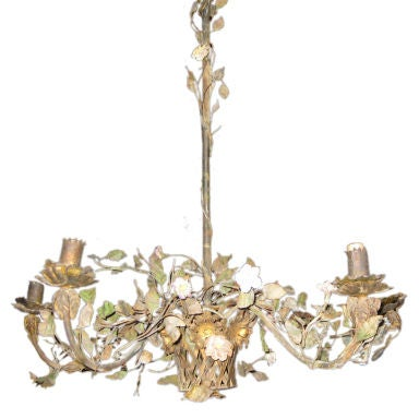 Painted Tole And Porcelain Flower Chandelier At 1stdibs