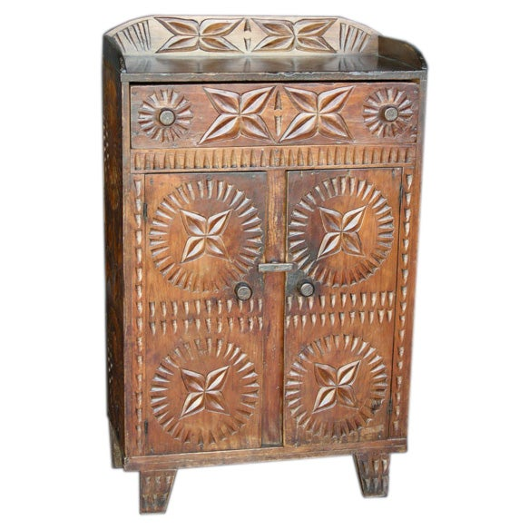 Hand carved cabinet at 1stdibs for Carved kitchen cabinets