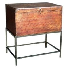 Antique Painted Trunk On Stand