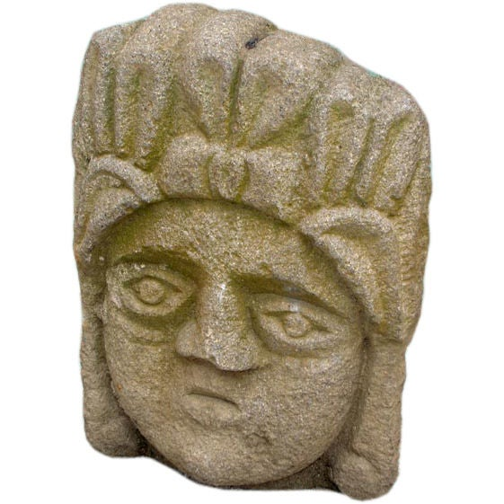 Antique carved stone face at stdibs