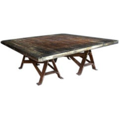 Antique Oak and Iron Coffee Table