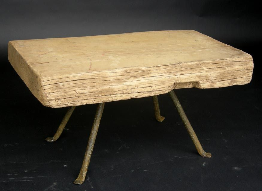 Reclaimed Wood Coffee Table With Iron Legs At 1stdibs