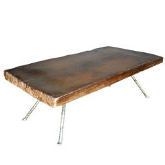 Wide Plank Coffee Table With Iron Legs
