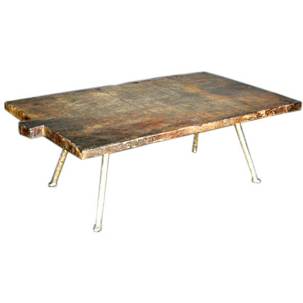 Tropical Hardwood Coffee Table With Iron Legs At 1stdibs