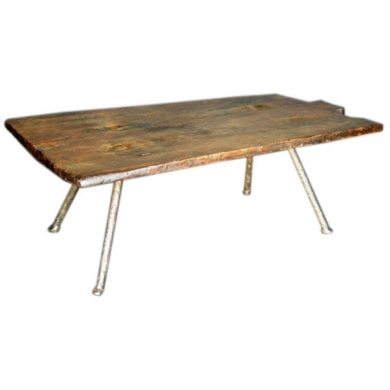 19th Century Baking Board with Contemporary Hand wrought Iron Le