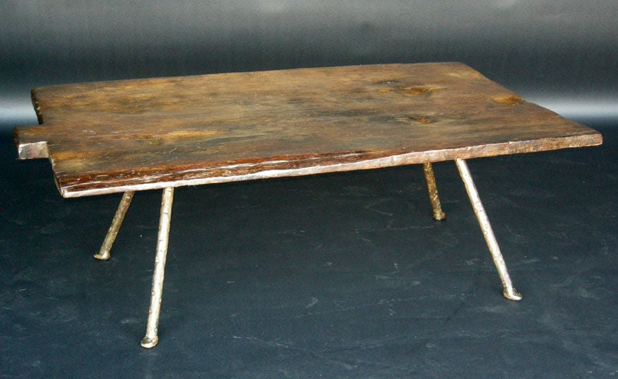 19th Century Baking Board with Contemporary Hand wrought Iron Le image 2