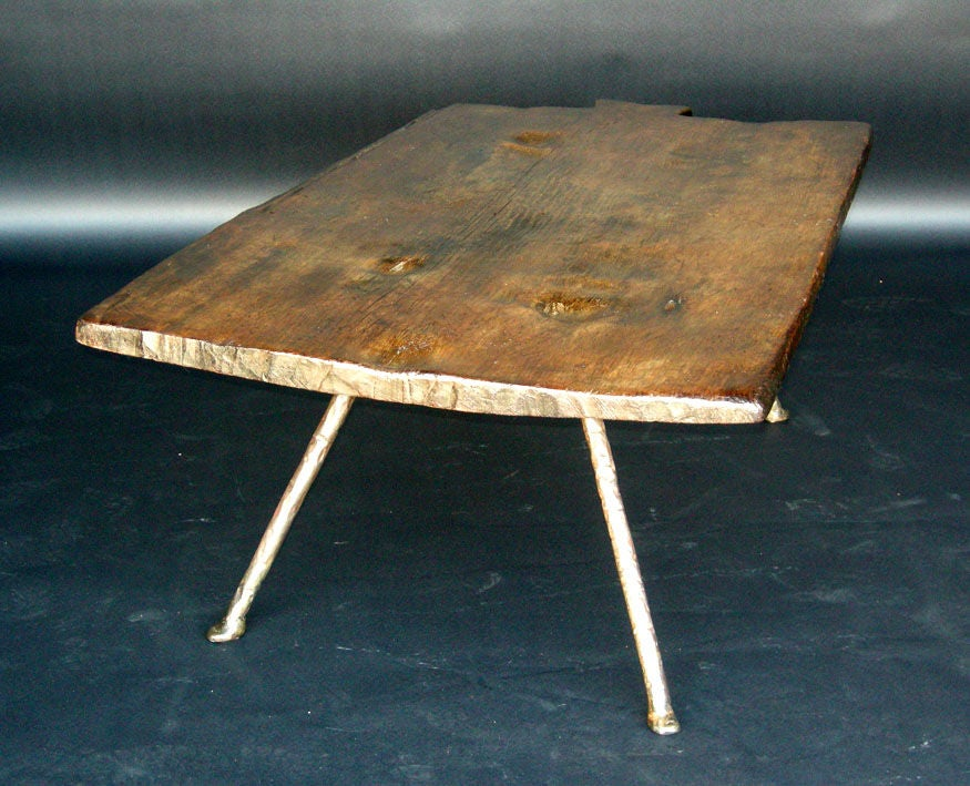 19th Century Baking Board with Contemporary Hand wrought Iron Le image 3