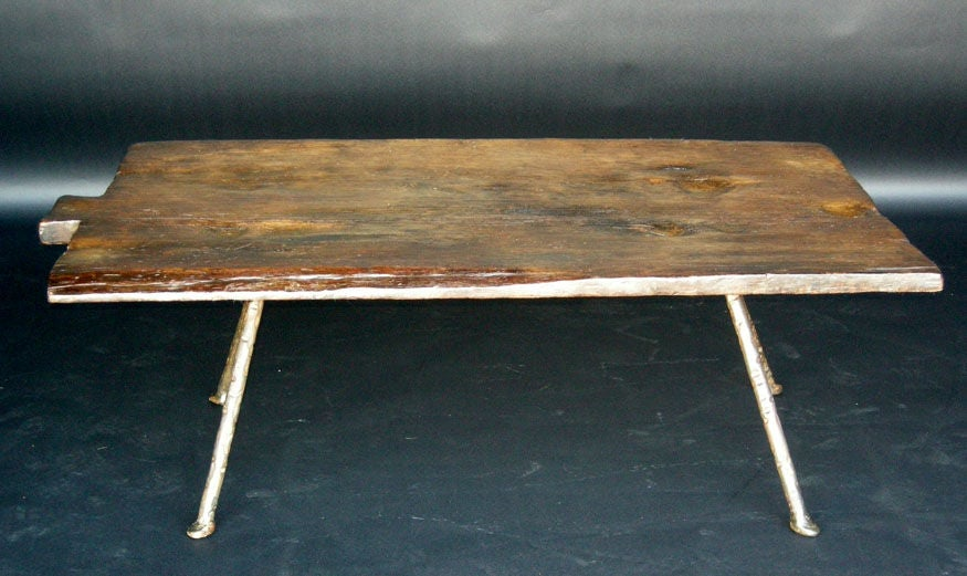 19th Century Baking Board with Contemporary Hand wrought Iron Le image 4