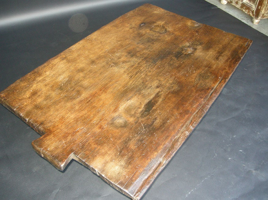 19th Century Baking Board with Contemporary Hand wrought Iron Le image 6