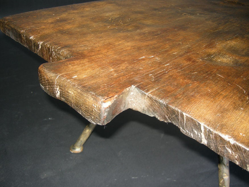 19th Century Baking Board with Contemporary Hand wrought Iron Le image 7