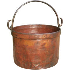 Early 20th c. Belgian Copper Bucket with Iron Handle