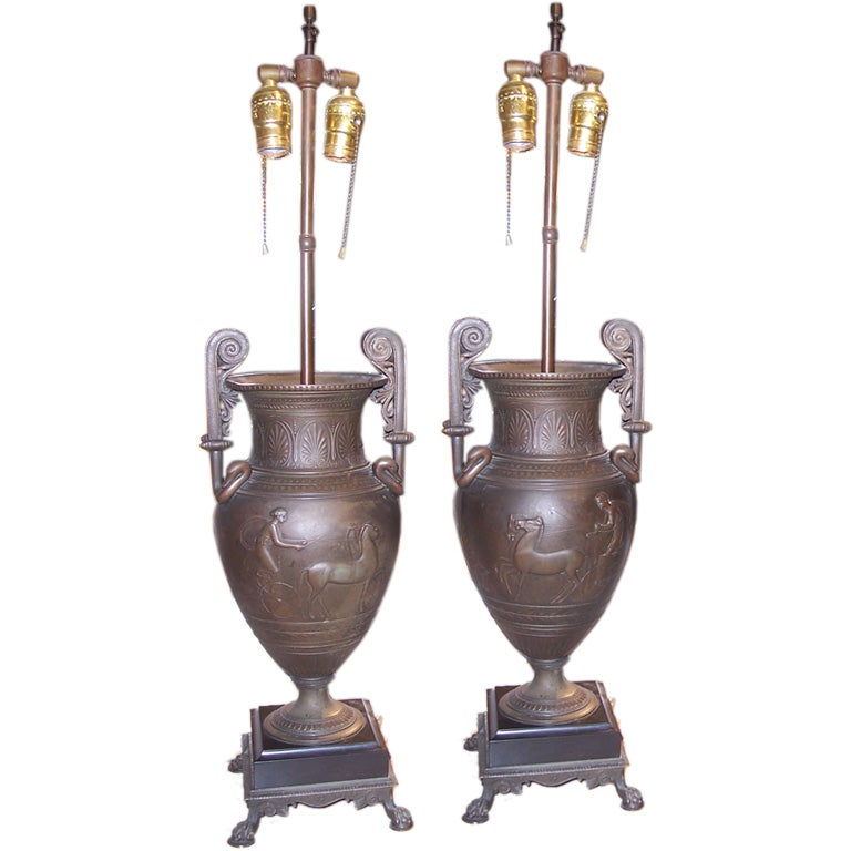 Pair of Patinated Bronze Urn Lamps