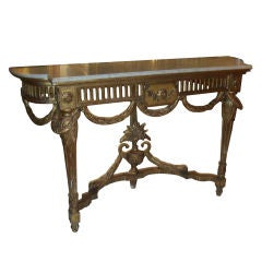 Beautifully Carved Gilt-wood, Marble-top Console on Fluted Legs