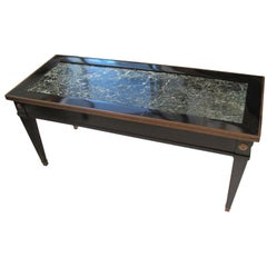 Jansen Marble-Top Coffee Table in the Directoire Manner with Pull-out Side