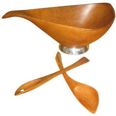 Large Emil Milan Teak and Sterling Bowl and Serving Spoons