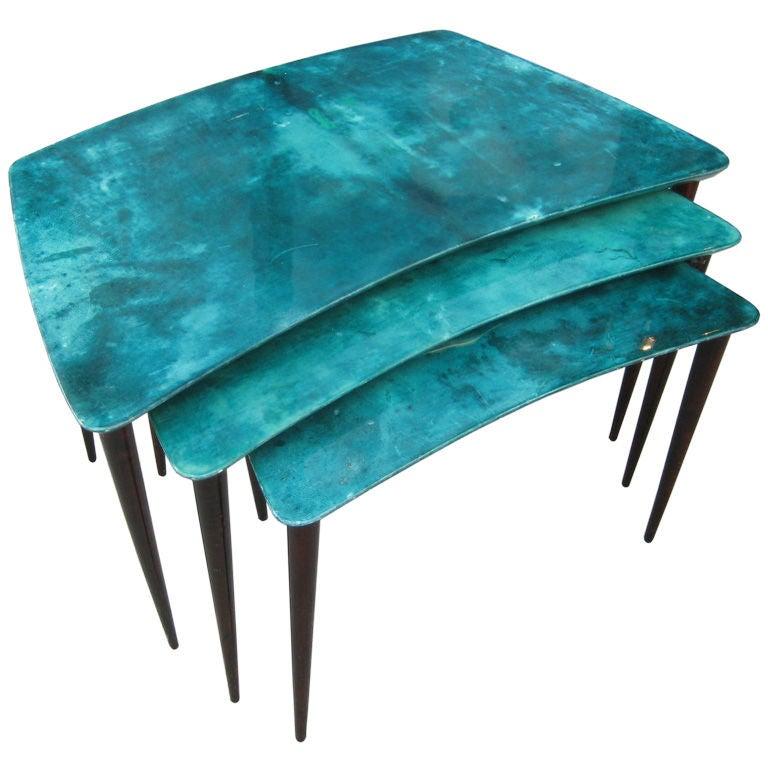 Aldo Tura Nest Of Tables At 1stdibs