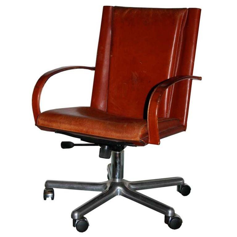 Matteo Grassi Leather Desk Chair For Sale