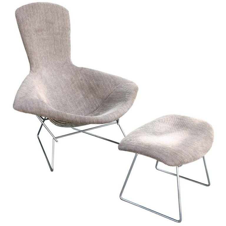 Bertoia Bird Chair And Ottoman At 1stdibs