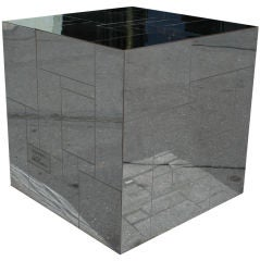Chrome Cityscape Cube Table by Paul Evans