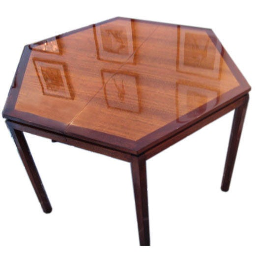 a six sided dining table by edward wormley for dunbar at
