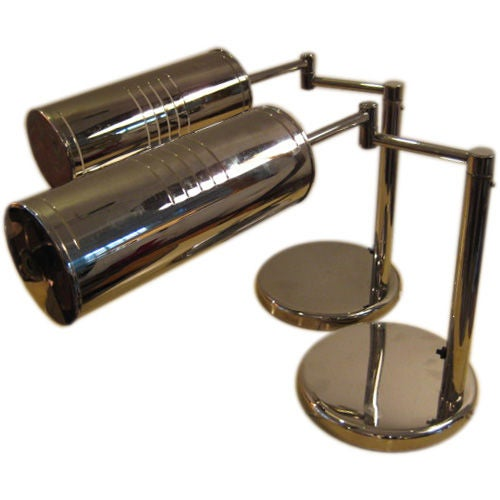 A Pair of Desk Lamps by Nessen in Nickel