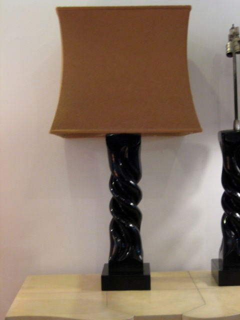 A Pair of Table Lamps by Heifetz in Black Lacquer In Excellent Condition For Sale In St.Petersburg, FL