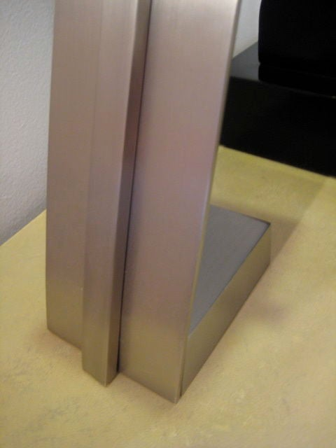 Stainless Steel French Modernist Table Lamp For Sale