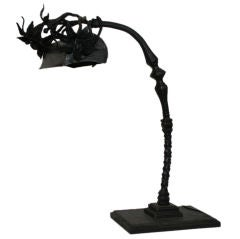French Art Deco Hand-Wrought Iron Table Lamp