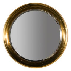 Brass Framed Porthole Mirror by Mastercraft